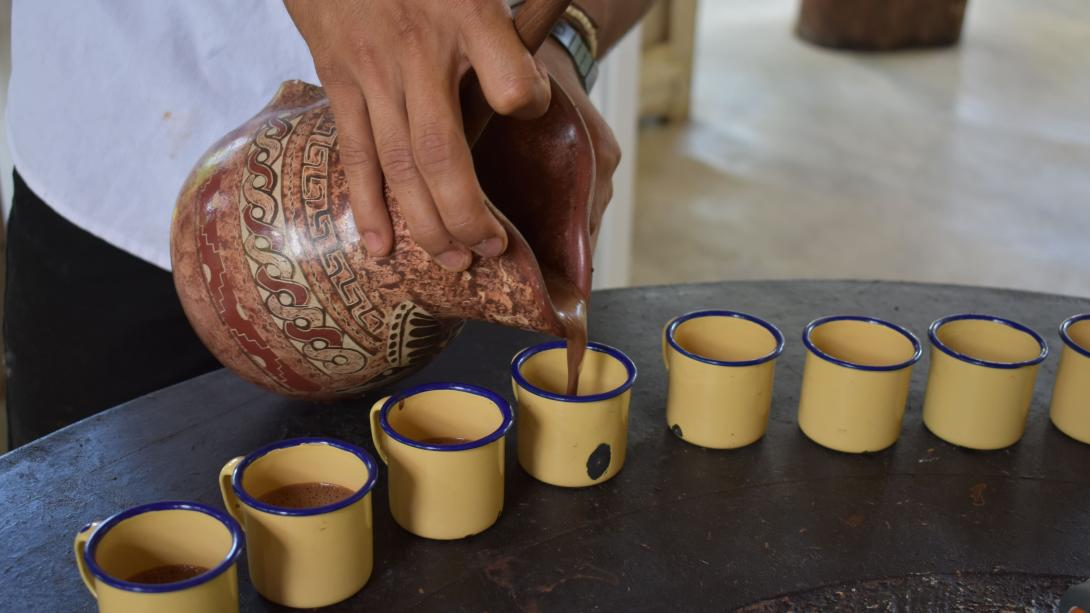 Perfectly brewed coffee gets poured during a tasting in Costa Rica.